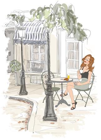 Montmarte in Paris - Frau auf Holyday mit Frühstück auf einer Terrasse eines Hotels - Vektor-Illustration