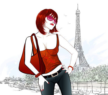 Young woman in Paris near Eiffel tower and Seine river illustration Vector