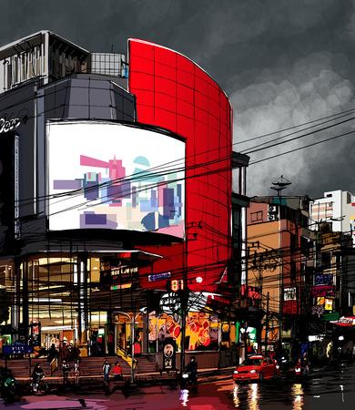 bangkok night: Street at night in Bangkok - Vector illustration Illustration