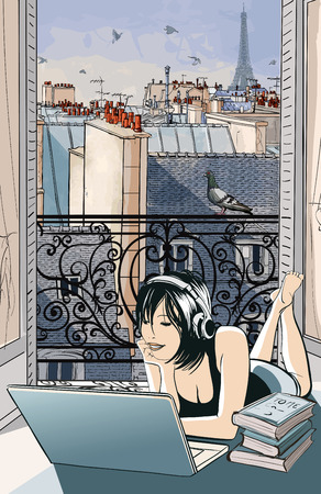 Young woman entertaining with computer in front of an open window on the roofs of Paris -  vector illustration