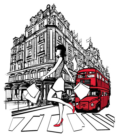 mall shopping: Woman shopping in London -  vector illustration