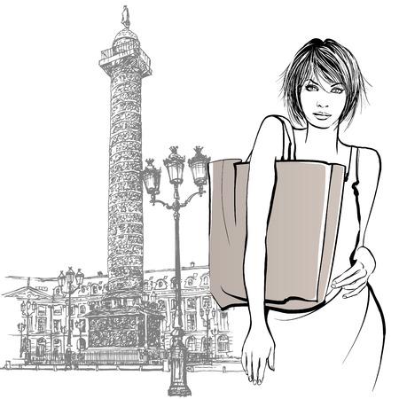 napoleon: Jonge vrouw winkelen in Parijs - Vector illustratie