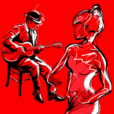 Gypsy guitar jazz player and woman dancing - Vector illustration Illustration