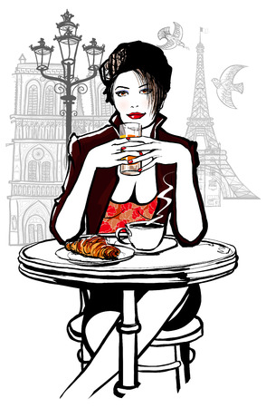Paris - woman on holiday having breakfast at a terrace of an hotel - vector illustration Vector