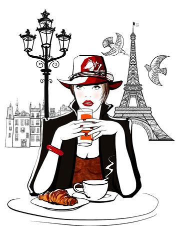 Parijs - vrouw op vakantie met ontbijt in een terras van een hotel - vector illustratie