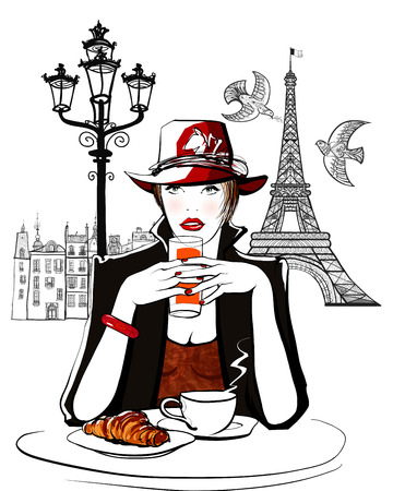 terrace: Paris - woman on holiday having breakfast at a terrace of an hotel - vector illustration