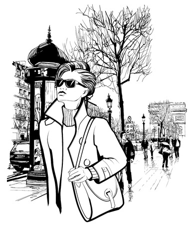 avenue: Woman walking in Champs-Elysees avenue in Paris - Vector illustration Illustration