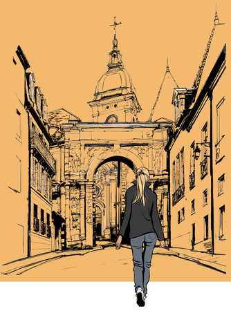 narrow street: Woman strolling in an old city in France - Vector illustration