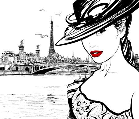 torre: Mujer joven cerca del río Sena en París con la torre Eiffel en el fondo - ilustración vectorial