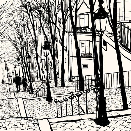 lampposts: View of Montmartre in Paris - Vector illustration Illustration