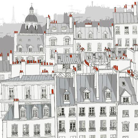 Roofs of Paris - Vector illustration Stock Illustratie
