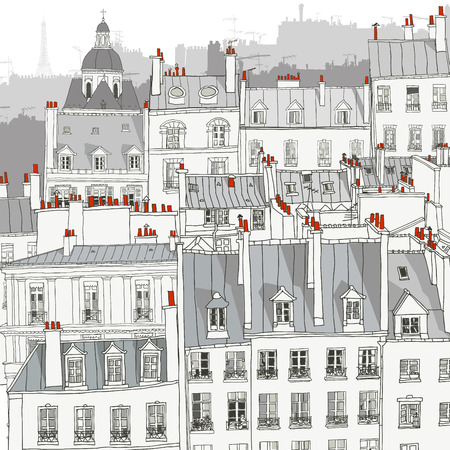 chimneys: Roofs of Paris - Vector illustration Illustration