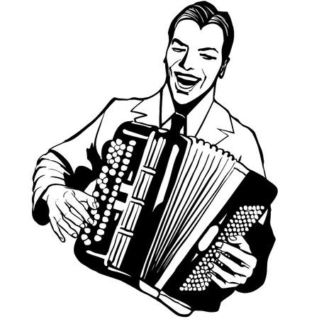 accordion: Accordion player - Vector illustration