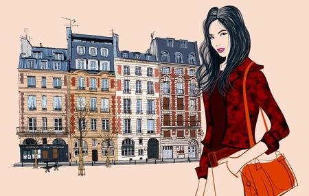 facade: Mujer asi�tica joven que visita Par�s - ilustraci�n vectorial Vectores