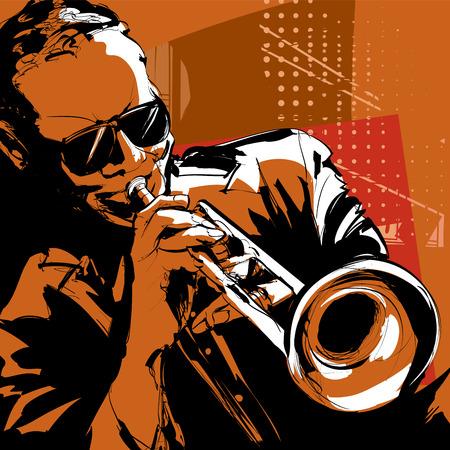 trompeta: Trompetista de jazz  Vectores