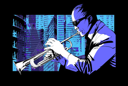Jazz trumpet player over a city background - Vector illustration Illustration