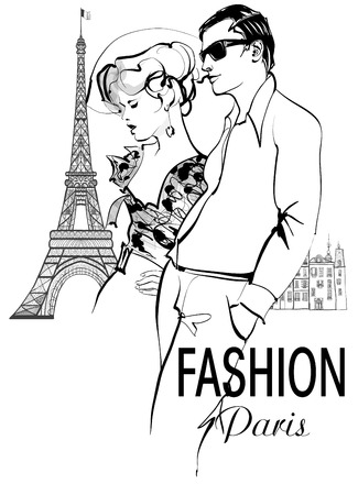 Fashionable couple strolling and shopping in Paris - vector illustration Stock Illustratie