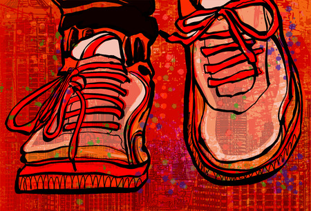 shoelace: Basketball shoes over a grunge city background - vector illustration