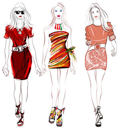 Colorful fashion women defile illustration