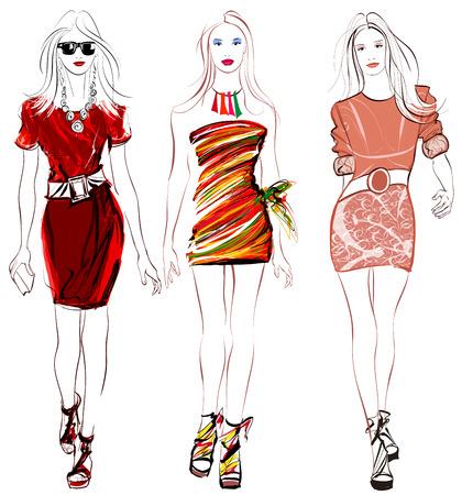 bocetos de personas: Mujeres de la moda de colores contaminan ilustración