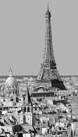 Roofs of Paris with Eiffel tower - Vector illustration Vector