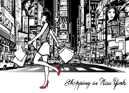 times square: Shopping in Times Square - New York - at night - Vector illustration (all ads are imaginary)