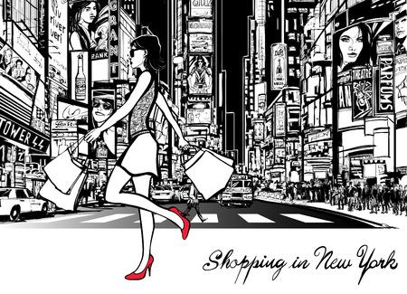 Winkelen in Times Square - New York - 's nachts - Vector illustratie (alle advertenties zijn denkbeeldige) Stock Illustratie