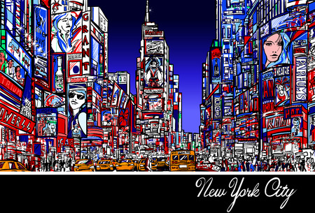 Colorful interpretation of Times Square in New York at night - Vector illustration Çizim