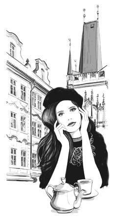 week end: Week End in Prague - Joven mujer tomando el t� en un caf� - ilustraci�n vectorial