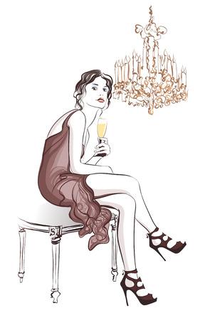 Vrouw champagne drinken in een stijlvol decor - Vector illustratie