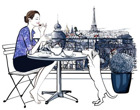 perro comiendo: Mujer que desayuna en un balcón en París-ilustración vectorial