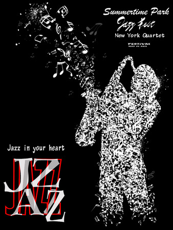 Jazz poster with a representation of a saxophonist composed of notes- Vector illustration