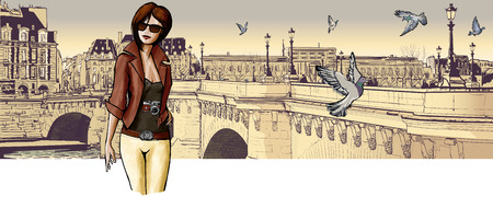 pont: Young woman visiting Paris - Vector illustration Illustration