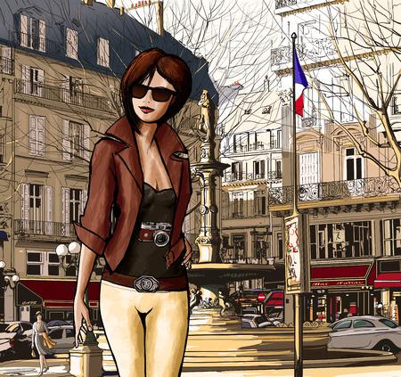 Jonge vrouw die een bezoek aan Parijs in Palais Royal- Vector illustratie