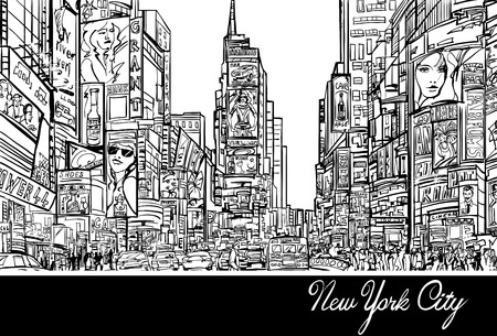 new york city times square: Interpretation of Times Square in New York in black and white- Vector illustration