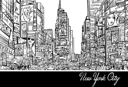 Interpretazione di Times Square a New York in nero e bianco illustrazione vettoriale Archivio Fotografico - 31759858