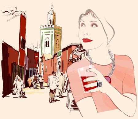 Woman visiting Marrakesh in Morocco - Vector illustration