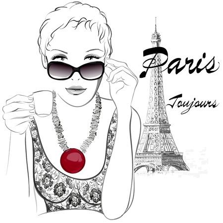Frau in Paris mit Café in der Nähe des Eiffelturms - Vektor-Illustration