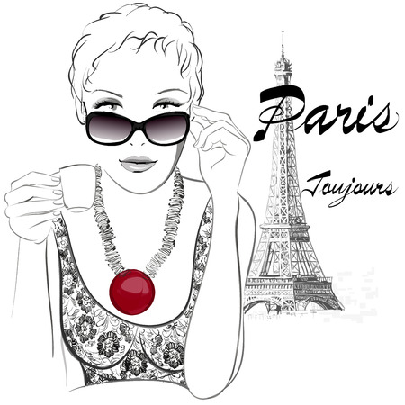 necklaces: Woman in Paris having cafe close to the Eiffel tower - Vector illustration