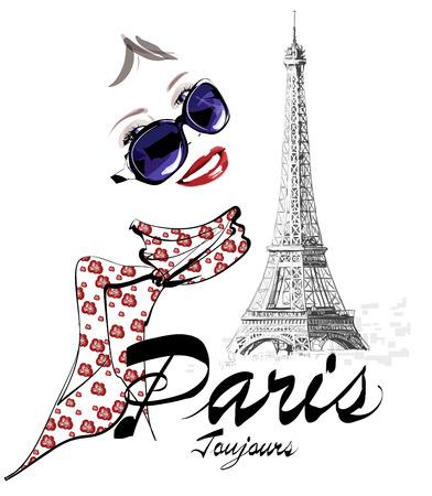 torre: Mujer en París cerca de la torre Eiffel - ilustración vectorial