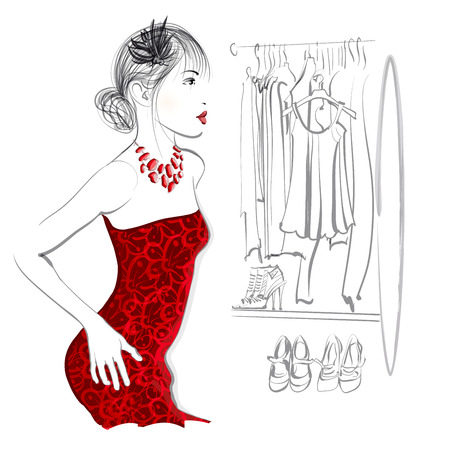 changing room: Young woman trying red dress looking in mirror, standing in clothes store or in a dressing - vector illustration Illustration