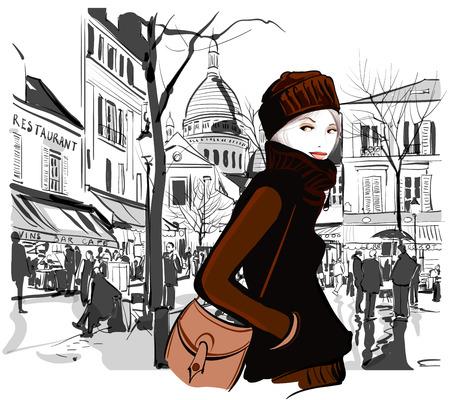 Woman in Montmartre square Paris - Vector illustration Vectores