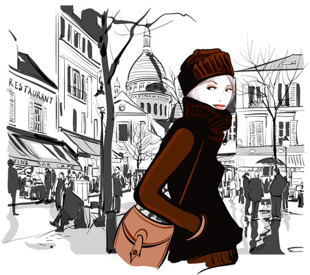 outdoor dining: Woman in Montmartre square Paris - Vector illustration Illustration
