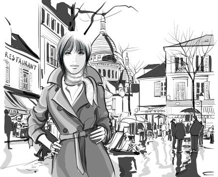 Vrouw in Montmartre plein van Parijs - Vector illustratie Stock Illustratie