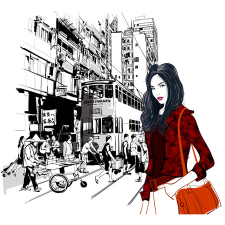 street vendor: Street in Hong Kong - Vector illustration (all chines characters are fictitious)