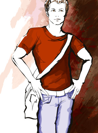hombre guapo: Hombre hermoso joven en un vestido informal - ilustraci�n vectorial