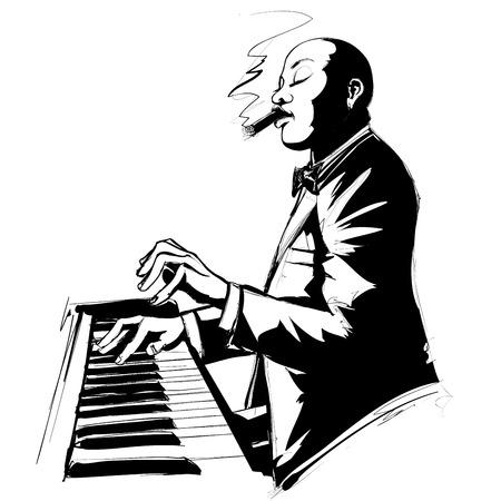 pianista: El pianista de jazz en el hábito de fumar cigarros en blanco y negro - ilustración vectorial
