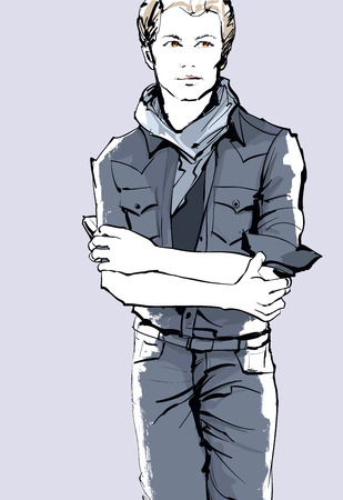 casual dress: Young handsome man in a casual dress - vector illustration Illustration