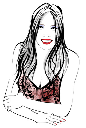 body painting: Young asian pretty woman smiling at the camera - vector illustration