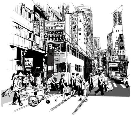 bocetos de personas: Calle de Hong Kong - ilustración vectorial (todos caracteres chinos son ficticios)